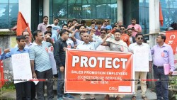 CRU holds protest rally in front of Labour Directorate at Agartala