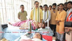 Dilip Kumar Das attends a blood donation camp organised by Tripura Music College
