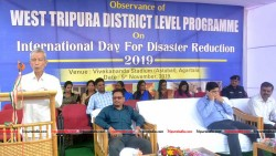NC Debbarma addressing at West Tripura District International Disaster Reduction Day 2019 Programme