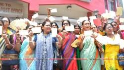 BJP Mohila Morcha activists posting postcards written with Jay Shree Ram