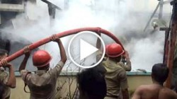 Fire Brigade troops with fire canons trying to extinguish massive fire erupted at Ramnagar Road no 9